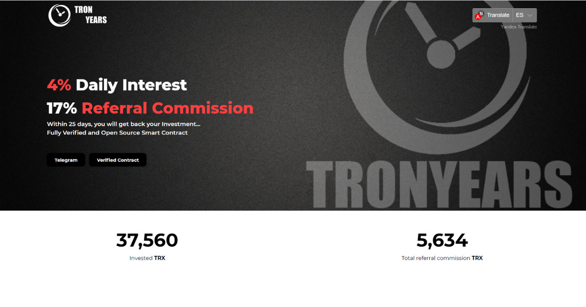 TronYears - Receive 4% for life and 17% for referrals up to 8