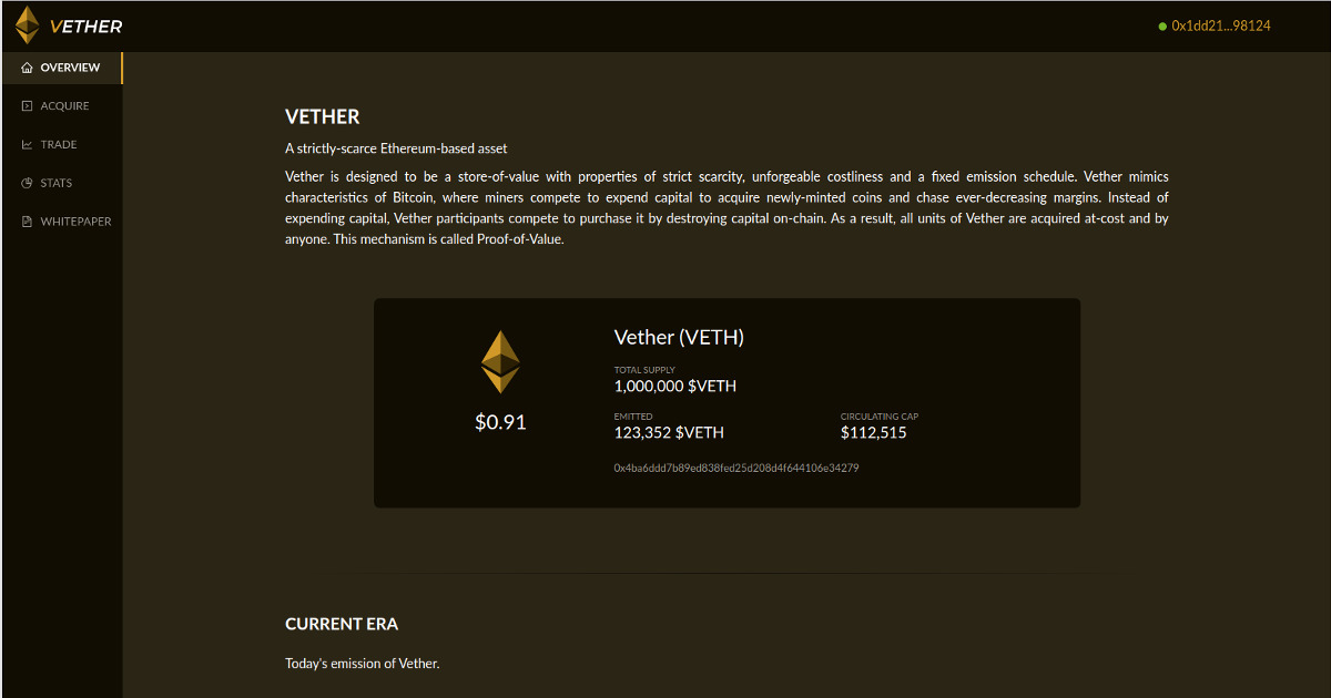 Vether - A strictly-scarce fixed-supply asset
