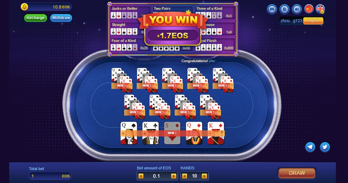 Video Poker-EOS - Classic video poker game