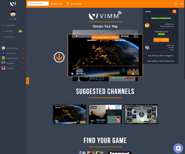 Vimm - Video platform for gamers and independent creators